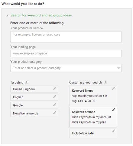keyword planner 2